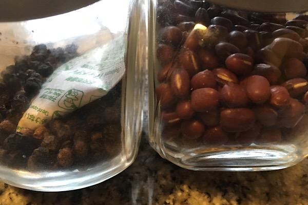 粒胡椒と小豆