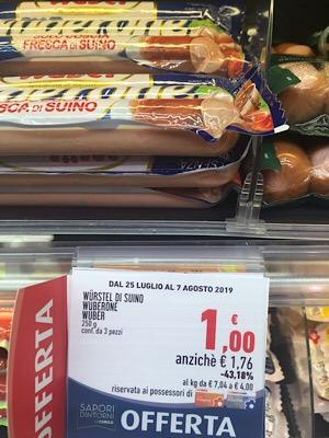 スーパーマーケットの札