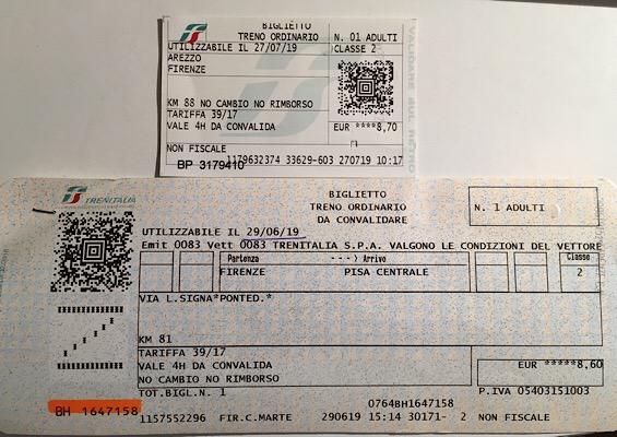 イタリアの列車の切符