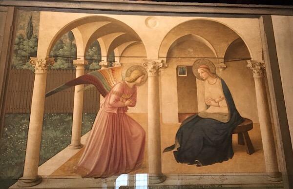 フラ・アンジェリコの受胎告知のフレスコ画